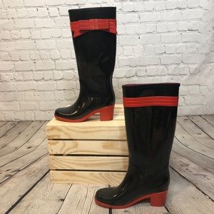 Kate Spade Randi Too Rain Rain Boots Black Red Bow